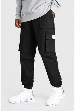 Black Twill Belt Front Cargo Jogger With MAN Tab