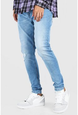 Mid blue blue Skinny Fit Jean With Abrasion
