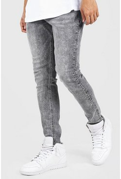 Jean coupe skinny avec abrasion, Gris