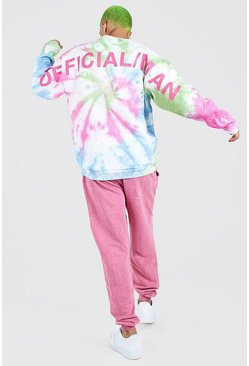 Multi Oversized Tie Dye MAN Back Print Sweatshirt