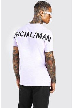 Lilac purple Official MAN Back Print T-Shirt