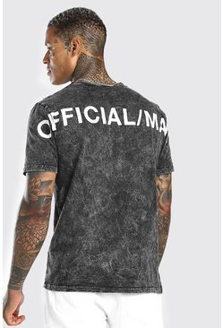 Charcoal grey Acid Wash Official MAN Back Print T-Shirt