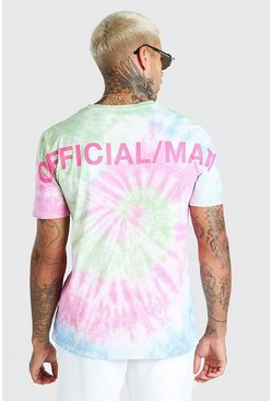 Multi Tie Dye Official MAN Back Print T-Shirt