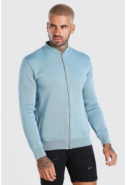 Dusty blue Smart Knitted Bomber