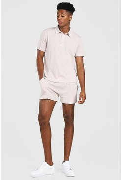 Dusky pink rosa Knitted Polo & Shorts Set With Pintuck