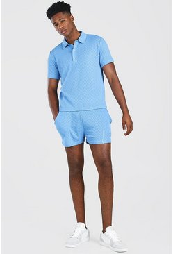 Cornflower blue blå Knitted Polo & Shorts Set With Pintuck