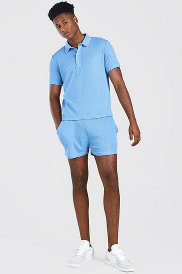 Cornflower blue blue Knitted Polo & Shorts Set With Pintuck