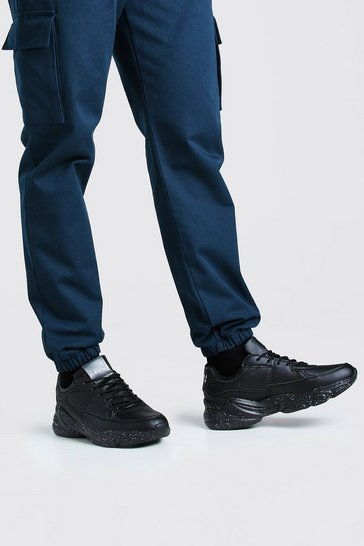 Black MAN Chunky Panelled Trainer With Speckled Sole