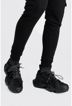 Black Man Chunky Sneakers With Reflective Sock Insert