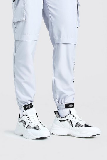 White MAN Chunky Mesh Trainer