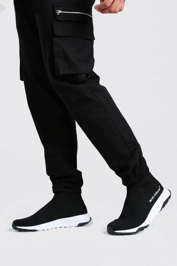 Black MAN Knitted Sock Trainer