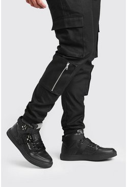 Black svart MAN High Top Trainer With Buckles