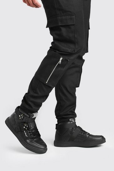 Black MAN High Top Trainer With Buckles
