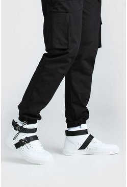 White Man High Top Sneakers With Buckles