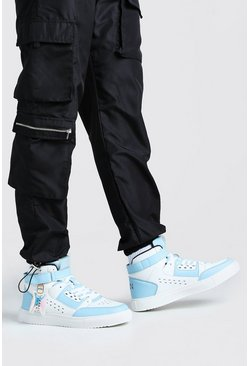Multi Man Hi Top Sneakers With Buckles