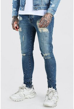 Antique blue Super Skinny All Over Distressed Jeans