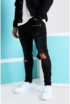 Washed black Super Skinny Blow Out Ripped Knee Jeans