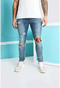 Vintage blue blue Super Skinny Blow Out Ripped Knee Jeans