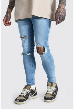 Ice blue Super Skinny Blow Out Ripped Knee Jeans