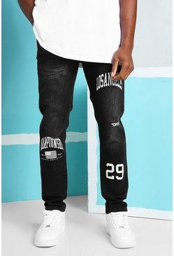 Washed black Skinny Stretch Jeans With Print Detail
