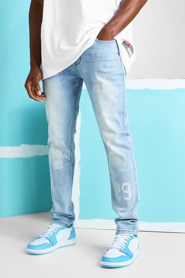 Ice blue Skinny Stretch Jeans With Print Detail