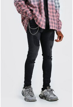 Washed black Skinny Stretch Ripped Jeans with Chain