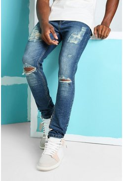 Antique blue Skinny Stretch Jeans With Busted Knees