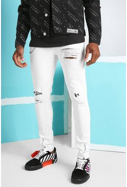 White Super Skinny Jeans With Embroidery And Zip Detail