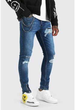 Mid blue blue Super Skinny Jeans With Embroidery And Zips