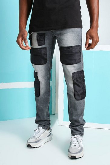 Dark grey grey Skinny Rigid Nylon Cargo Pocket Jeans
