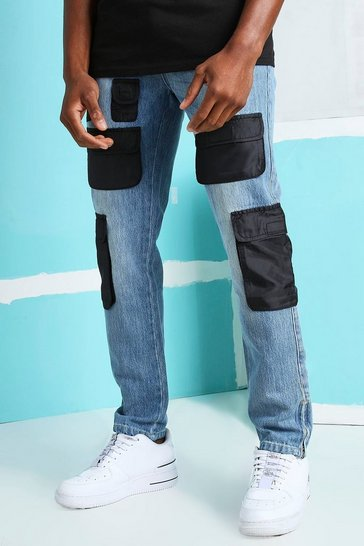 Mid blue blue Skinny Rigid Nylon Cargo Pocket Jeans
