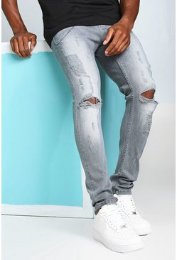 Light grey grey Super Skinny Busted Knee Jeans with Chain