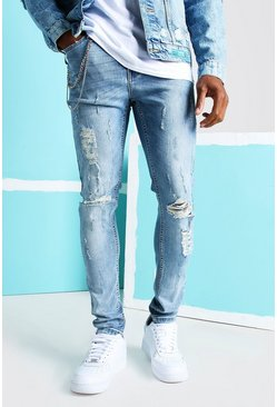 Mid blue blue Super Skinny Distressed Busted Knee Jeans