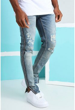 Vintage blue blue Skinny Rigid Ripped Jeans With Bandana Tape