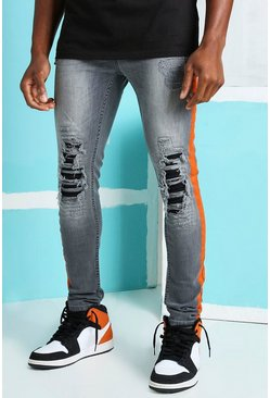 Dark grey grey Super Skinny Rip & Repair Biker Jeans