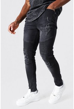 Washed black Super Skinny Rip Biker Jeans With Rips