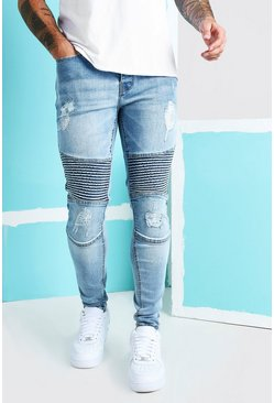 Ice blue Super Skinny Rip Biker Jeans With Rips