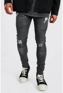 Dark grey grey Super Skinny Rip Biker Jeans With Rips