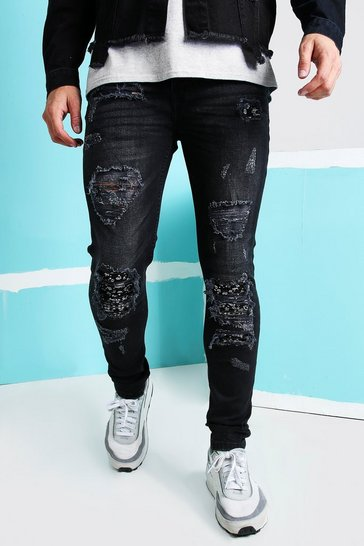 Washed black Super Skinny Bandana Rip & Repair Jeans