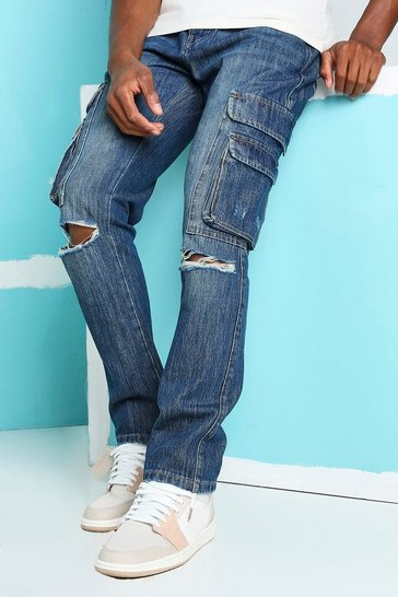 Antique blue Straight Busted Knee Cargo Pocket Jeans
