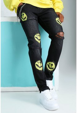 Washed black Skinny Stretch Rip Knee Print Jeans