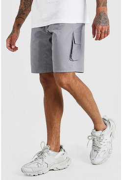 Grey Fixed Waist Cargo Short