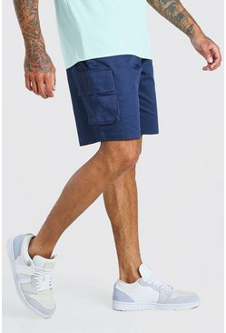 Navy marinblå Fixed Waist Cargo Short