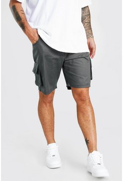 Charcoal grey Fixed Waist Cargo Short