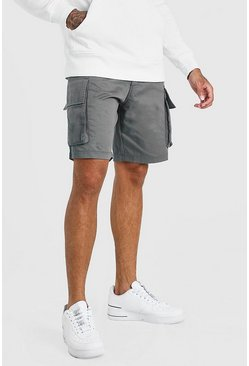 Charcoal grey Elastic Waist Cargo Short