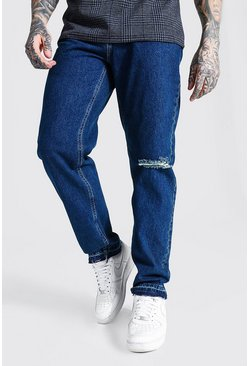 Mid blue blue Relaxed Fit Busted Knee Let Down Hem Jean