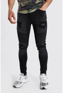Washed black Super Skinny Multi Rip Biker Jean