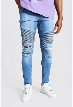 Mid blue blue Skinny Stretch Biker Jean With Abrasions