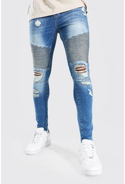 Mid blue blue Super Skinny Busted Knee Biker Jean