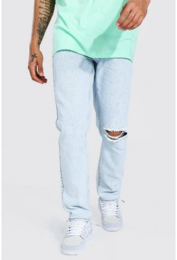 Ice blue Straight Leg Busted Knee Distressed Jean